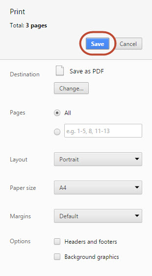 Save PDF in Chrome